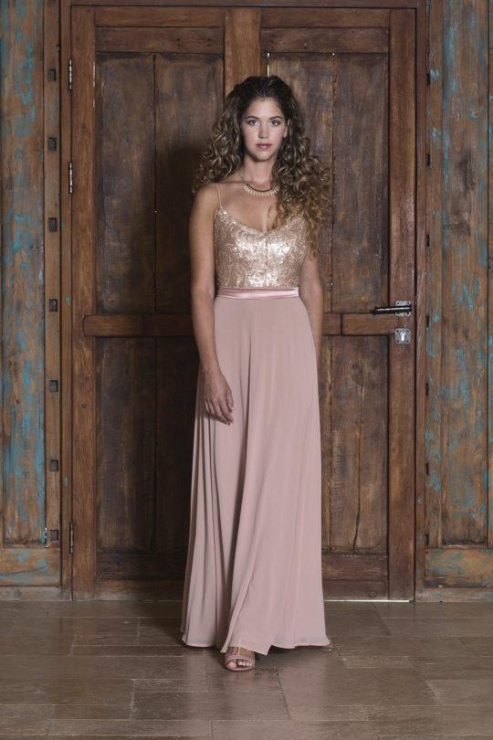 שמלת מקסי עם כתפיות דקות שיפון ופאייטים