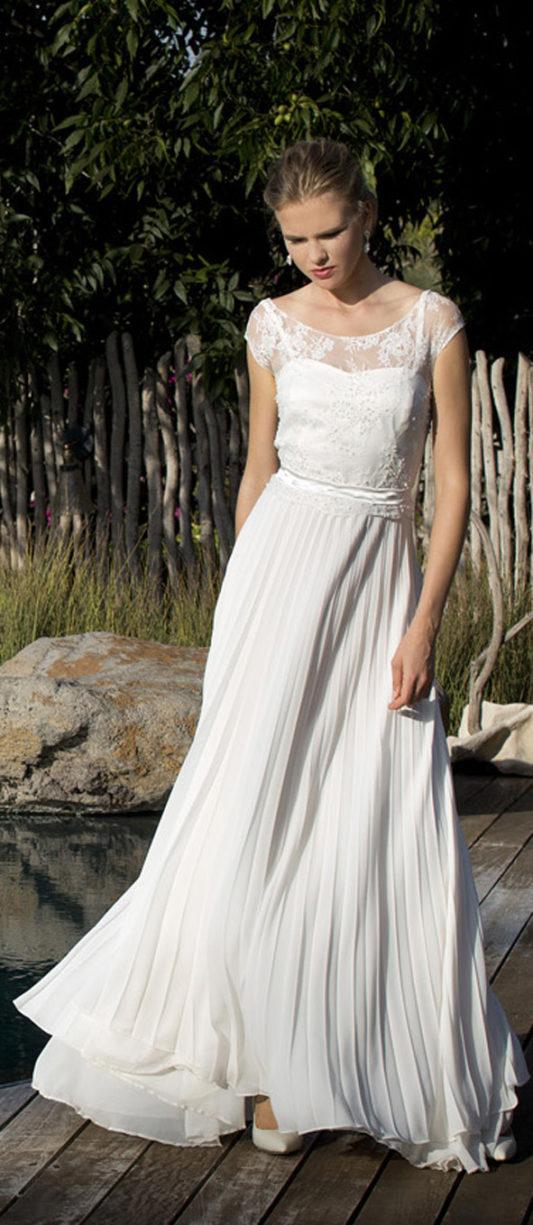 שמלת כלה חצאית פליסה ועליונית תחרה מחורזת